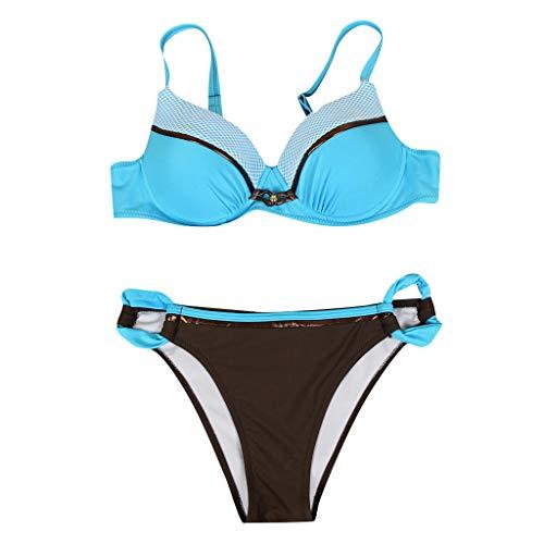 Bikini Set Frauen Padded Push Up Geteilter Badeanzug Große Größen Zweiteilige Bademode Schalen Bikinioberteil und Slip Bademode Bikinihose Schwimmanzug Swimwear Swimsuit (Blau, L)