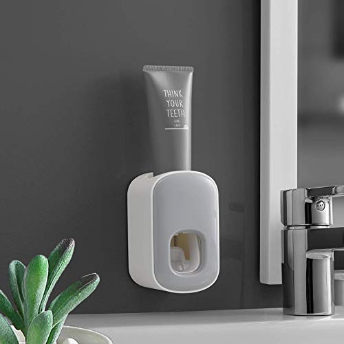 Toothpaste Dispenser,Automatic Toothpaste Squeezer,Hands Free Wall Mounted for Kids and Adult,for Family Shower Bathroom, Washroom (Grey)