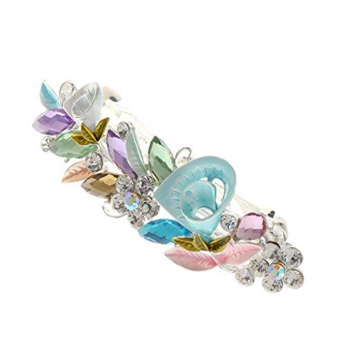 Generic Haarspange,mit Kristall Strass, Blume Form, Haarschmuck, Für Damen - Multicolor