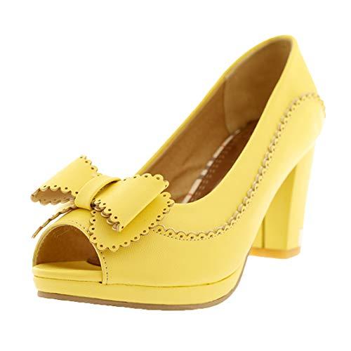MISSUIT Damen High Heels Blockabsatz Peeptoe Pumps mit Schleife Vintage Rockabilly Schuhe(Gelb,41)