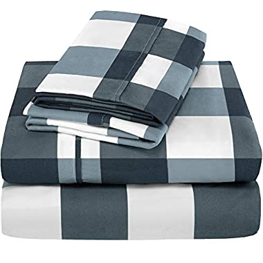 Bare Home Premium - Queen Size Sheets - 1800 Ultra-Soft Microfiber Collection Sheet Set - Double Brushed - Hypoallergenic - Wrinkle Resistant - Deep Pocket (Queen, Gingham Blue)
