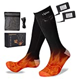 Vipoo Heated Socks, Winter Electric Rechargeable 3 Heating Settings Thermal Socks, Winter Skiing Camping Hiking Warm Socks for Men and Women - Black&Gray