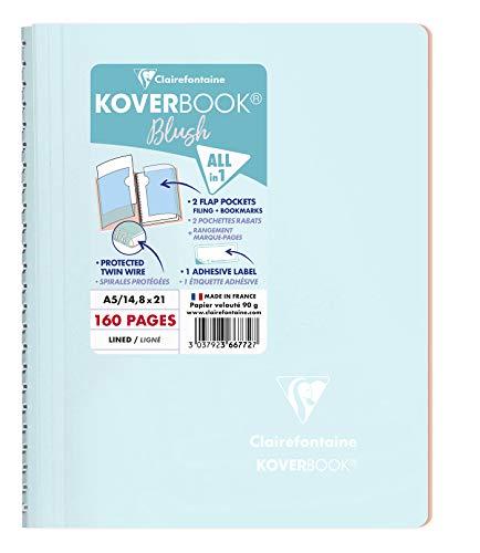 Clairefontaine 366772C Koverbook Blush - Cuaderno de espiral (160 páginas desmontables, 14 x 8 x 21 cm, 90 g, con rayas, tapa de polipropileno), color azul y coral