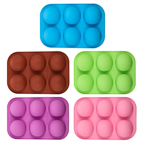 Xinzistar - Lote de 5 moldes de silicona semiesféricos para