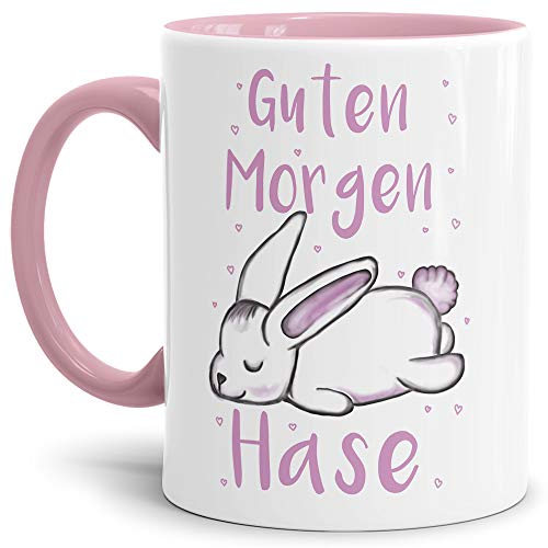 Tassendruck Oster-Tasse Guten Morgen Hase - Ostern/Witzig/Oster-Geschenk/Schön/Lustig/Innen & Henkel Rosa