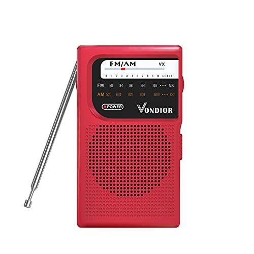 compact fm radios AM FM Battery Operated Portable Pocket Radio - Best Reception and Longest Lasting. AM FM Compact Transistor Radios Player Operated by 2 AA Battery, Mono Headphone Socket, by Vondior (Red)