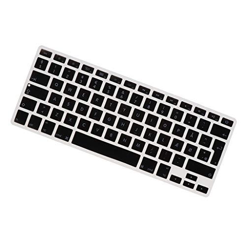 H HILABEE Dänisch Tastatur Aufkleber für MacBook 13,3 Zoll 15 pro Notebook, Dänisch Tastatur Layout mit Buchstaben, Keyboard Sticker - schwarz