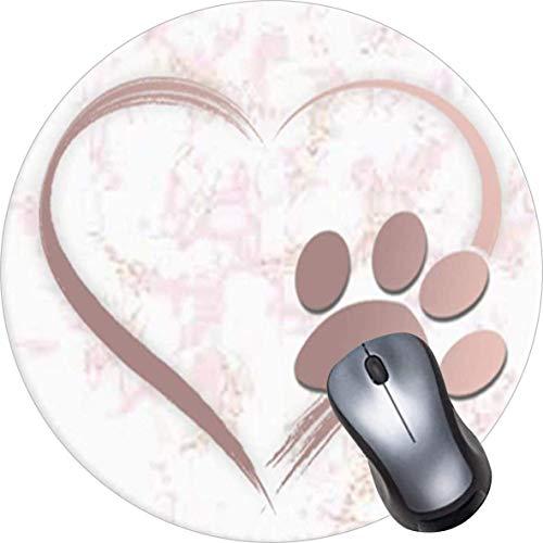 Alfombrilla de ratón redonda con diseño de mandala, alfombrilla de ratón con base de goma antideslizante, resistente al agua, tamaño pequeño, diseño de corazón, color rosa y blanco