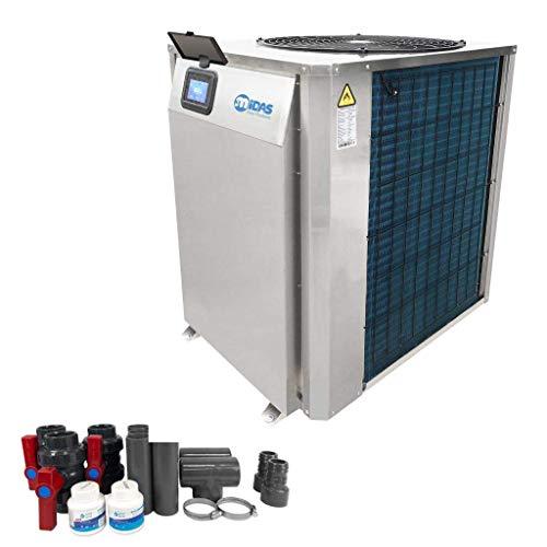 well2wellness Full-Inverter Wärmepumpe Mida.Maxx 25- Poolheizung mit Einer Heizkapazität bis 24,3 kW Plus Bypass Set Basic + Abdeckung