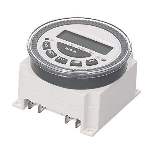 Keifen Interruptor temporizador digital programable semanal con temporizador eléctrico montado en panel de cubierta polvo 16 programas independientes de encendido/apagado para luces de oficina