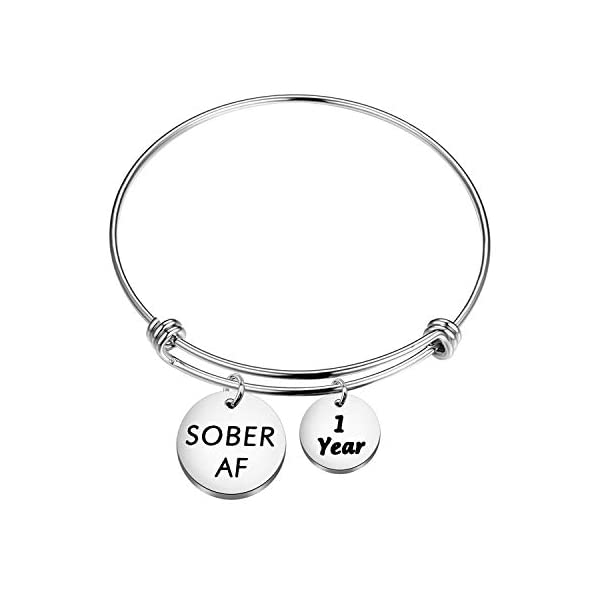 ENSIANTH 1 Year 2 Years 5 Years Sobriety Anniversary Keychain Sobriety Gift AA NA Recovery Jewelry Sober AF Encouragement Gift