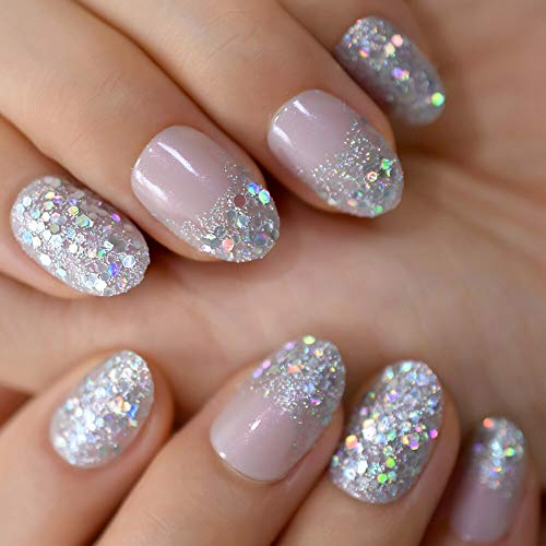Coolnail Holographic Glitter Ombre Press On Fake Nails Gradient Silver Glitter Oval French False Nails Nude Pink Handmade Full Set Nails