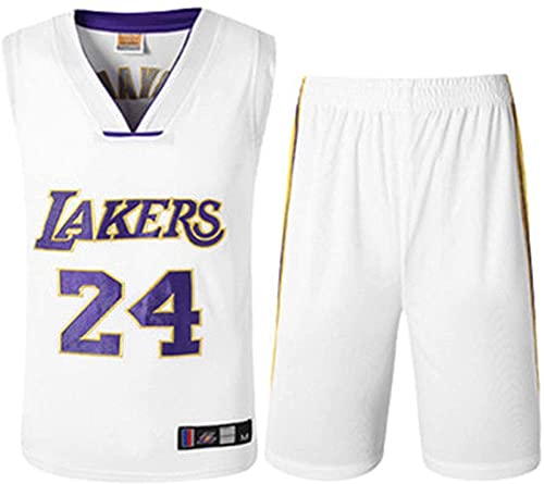xzl Ropa de Baloncesto de la NBA para niños, niños, los Lakers Kobe Bryant 24 Bordado Jersey Baloncesto Trajes de Baloncesto Summer Jersey Set Sports Traje, White - L