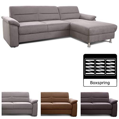 Cavadore Ecksofa Ascaro mit Longchair rechts / Boxspring-Sofa im modernen Design / 254 x 84 x 171 / Lederoptik Hellgrau