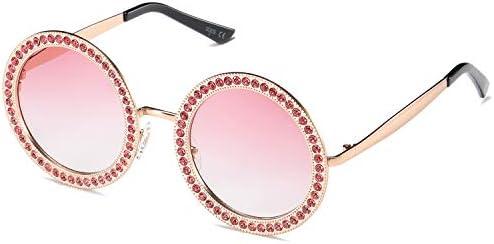 SOJOS Shining Oversized Round Rhinestone Sunglasses Festival Gem Sunnies SJ1095 with Gold Frame product image