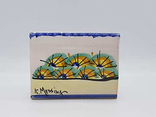 Portatovaglioli di carta in ceramica siciliana dipinto a mano. Porta tovaglioli da tavola. Le ceramiche di Ketty Messina.