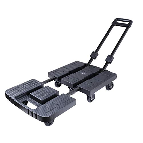 Hand Trucks Folding Trolley Luggage Carrier Folding Push-Pull Car Portable Tug Household Loading Trolley Best Gift Load 200 Kg (Color : Black, Size : 4013.358cm)