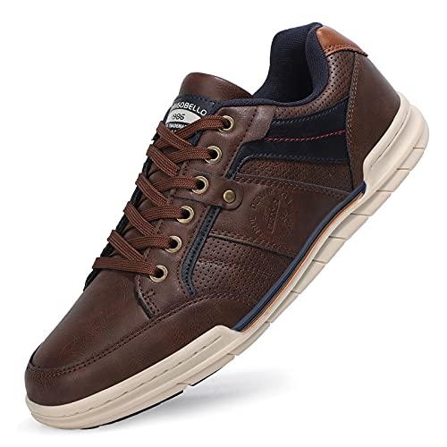 TARELO Zapatillas Casual Hombre Zapatos Deportivas Bajas Running Transpirable Senderismo Sneaker Gimnasia Tamaño 41-46(MARRÓN Oscuro, Numeric_44)