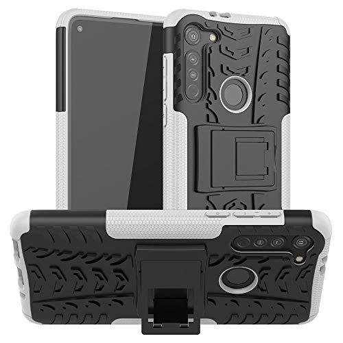 PHONETABLETCASE+ / for Compatible with Motorola Moto G8 Texture Texture TPU + PC Funda Protectora con Titular,Protección de la Cubierta de la Cubierta a Prueba (Color : Blanco)