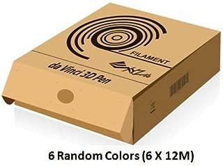 XYZprinting da Vinci 3D Pen PLA Filament - Environmental & Safe (6 Count of 12 Meter, Random Color)