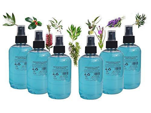 SPRAY ANTIVIRICO DESINFECTANTE PACK 6 UNIDADES 250ML 100% Natural 10 Aceites Esenciales. Limpiador Hidroalcohólico, piel, mascarillas, textil, superficies y aparatología