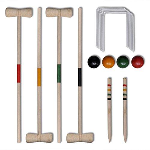 vidaXL Krocket Croquet Gartenspiel Holz Spiel für 4 Spieler Outdoor Krocketspiel