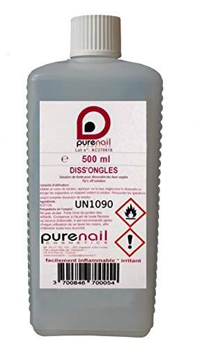 DISSONGLES Pure Acétone PURENAIL, 1 flacon de 500 ml, dissout les vernis à ongles, le gel Uv et les faux Ongles Purenail