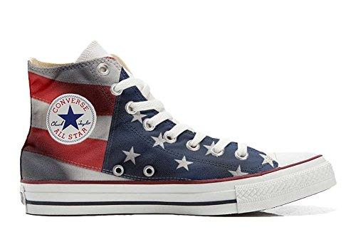 Scarpe Sneakers Personalizzate (Uomo/Donna) Originali Hi Canvas, Sneaker Unisex (Prodotto Artigianale) con Bandiera Americana (USA) - TG37