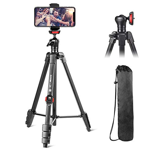 "Cell Phone Tripod, 54"" Flexible Tripod Stand for iPhone and Android Cellphone & Camera with Bluetooth Wireless Remote,Cellphone Phone Tablet Stand Holder,Upgrade Ball Head and Carrying Bag"