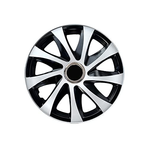 Tapacubos llantas negro blanco 16 Pulgadas (4 piezas) Drift de NRM, Tapacubos llantas ruedas