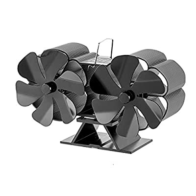 N\C 12 Blades Fireplace Fan Powered Stove Fan Stove Fan Dual Head Aluminium Silent Eco-Friendly for Wood Log Burner Silent for Winter Large Room from N\C
