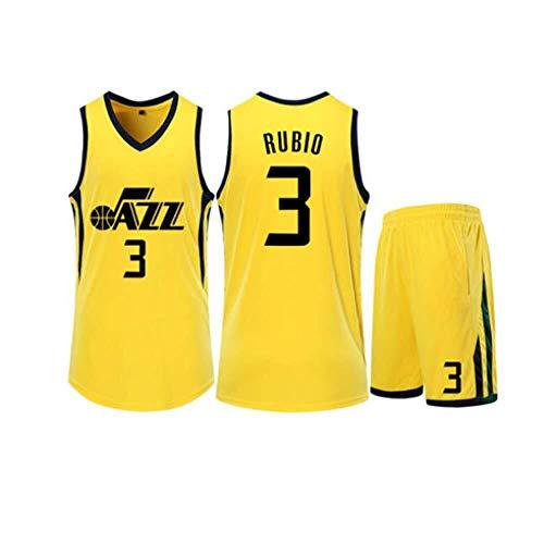 Li Longue Les Hommes de Basket-Ball Maillots Set - NBA Utah Jazz # 3 Justin Wright-Foreman de Basket-Ball d'été brodé Chemise Gilet Shorts (Color : 1, Size : XXL)