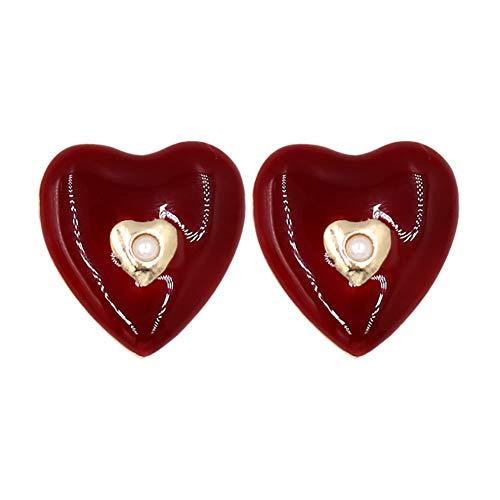 C- Pendientes de Mujer - Love Drops Stud Pendientes Color del Caramelo Vino Rojo Forma de corazón Nicho Moda Pendientes de Perlas Lindos