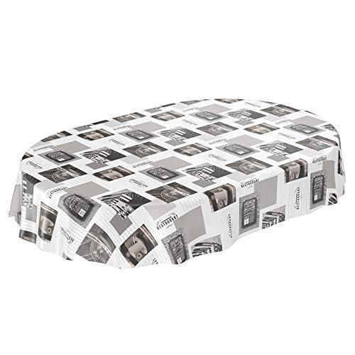 ANRO Nappe en Toile cirée cirée Ovale Gris/Blanc 220 x 140 cm Bordure de Coupe 140 x 220 cm