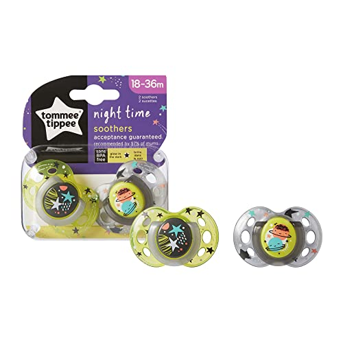 Tommee Tippee Night Time Glow in the Dark Soothers, Symmetrical Orthodontic Design, BPA-Free Silicone, 18-36m, Pack of 2 Dummies