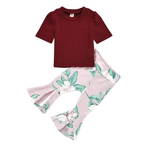 VEFSU Toddler Baby Girls Solid Color Ribbed O-Neck Short Sleeve Tops Floral Printed Bell-Bottom Pants for Infant Girls Red 80