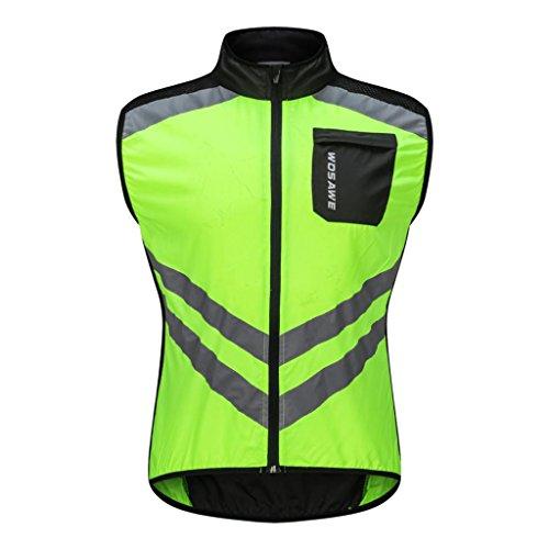 Homyl Chaleco cortavientos sin mangas deportivo para ciclismo, running, deporte, cómodo, ropa deportiva Verde XL
