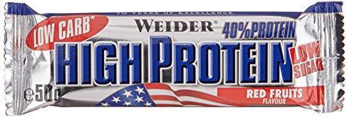 Weider Low Carb High Protein Bar, Rote Früchte, 24 x 50 g