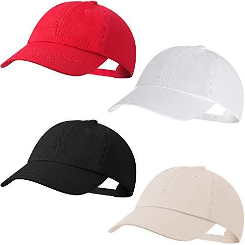 4 Stück Klassische Baseball Hut Vintage Unisex Gewaschene Betrübt Baumwolle Verstellbare Hüte für Männer Damen, 4 Farben