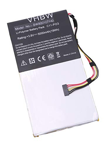 vhbw Batterie Li-Polymer 5000mAh (3.8V) pour Netbook Pad Tab Tablette ASUS Padfone 2 A68 Station comme C11-P03, C11P03.