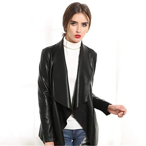 SANJIBAO Damen Echtlederjacke Motorrad-Lederjacke Frauen-Mittellanges PU Art und Weise Leder-Frauen dünne Jacken,S