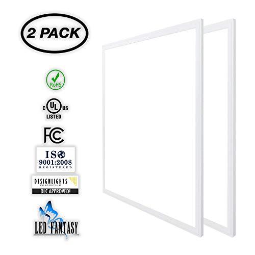 LED FANTASY 2x2 FT LED Panel Dimmable 0-10V, 40W (140W Equivalent), 5000K Daylight White,DLC & UL 2 Pack