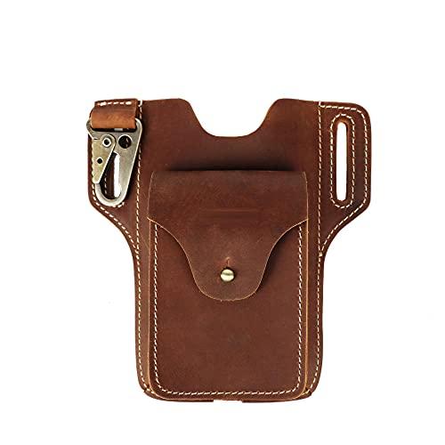 Riñoneras Hombre Piel, Riñoneras Hombre Pequeñas, Riñonera Hombre Cuero Bolsa Bolso de Cintura Cinturón Bolsillo Cartera Funda para Smartphone