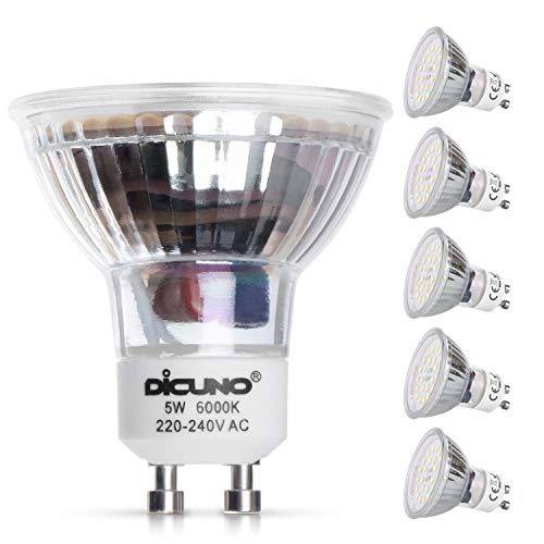 DiCUNO Ampoule LED GU10, 5W, 600LM, Blanc froid 6000K, équivalent 50W lampe halogène, Ampoule LED Spot Culot GU10, Non-dimmable, 220-240V, 120° Larges Faisceaux, Lot de 6