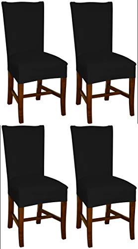 Stuhlhussen schwarz von Bellboni, 4er Pack, hochwertige Stuhlbezüge, Stuhlüberzüge, passend für viele Stuhlgrößen elastisch, bi-elastic