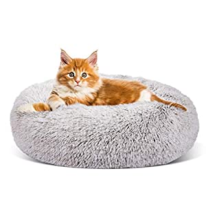 SHU UFANRO Dog Beds for Large Medium Small Dogs Round, Cat Cushion Bed, Calming Pet Beds Cozy Fur Donut Cuddler Improved Sleep, Washable, Non-Slip Bottom (XS/S/M/L)