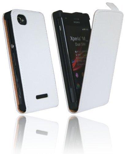 ENERGMiX Handytasche Flip Style kompatibel mit Sony Xperia M Dual SIM in Weiß Klapptasche Hülle