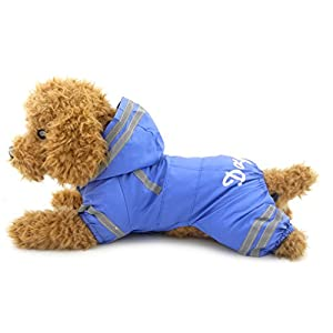 Ranphy Petit Chien/Chat imperméable étanche imperméable Combinaison à capuche en maille Cape de pluie avec crochet Bleu