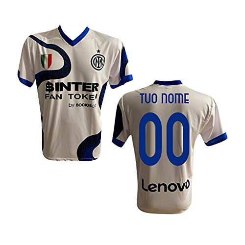 F.C. Inter Maglia Replica Calcio AWAY BISCIONE BIANCA Ufficiale Autorizzata Personalizzata Personalizzabile 2021 2022 CALHANOGLU CORREA ZANETTI DZEKO SKRINIAR BARELLA BROZOVIC LAUTARO Adulto e Bambino