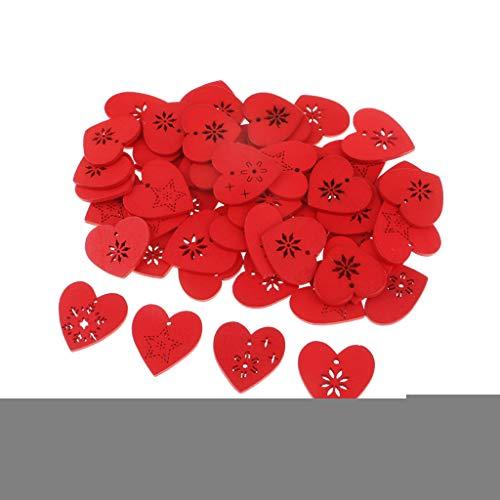 Daily Mall - 50 decorazioni a forma di cuore, in legno, per albero di Natale, per matrimonio, 30 x 28 mm, colore: Rosso
